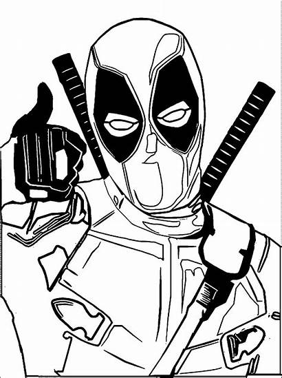 Deadpool Coloring Drawing Chibi Pages Spiderman Cartoon