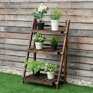 3-tier, Outdoor, Yard, Folding, Wooden, Display, Flower, Plant, Stand, Rack, Shelf, Holder