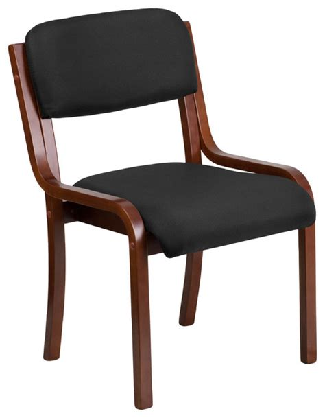 contemporary wood side chair black fabric and walnut