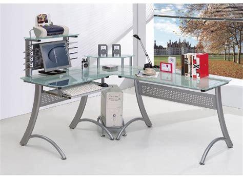bureau multimedia bureau d angle informatique métal et bois avec étagère