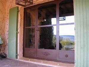 baie vitree et porte en fer forge effet rouille a aix en With porte fenetre fer forgé