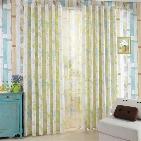 healthy green leaf pattern linen cotton living room curtains