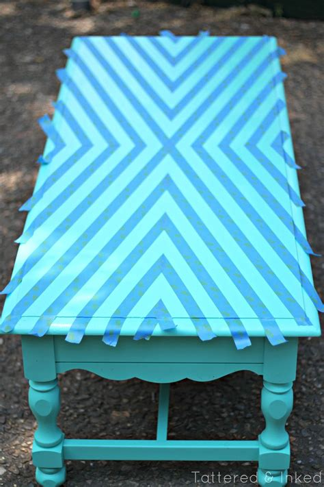 tattered  inked geometric coffee table makeover
