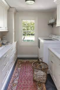 traditional galley style laundry room  bar
