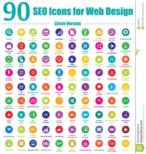 Seo Meaning Web Design by 90 Seo Icons For Web Design Circle Version Stock Image