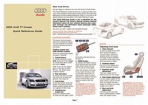 2002 Audi Tt Coupe Quick Reference Guide Pdf  413 Kb