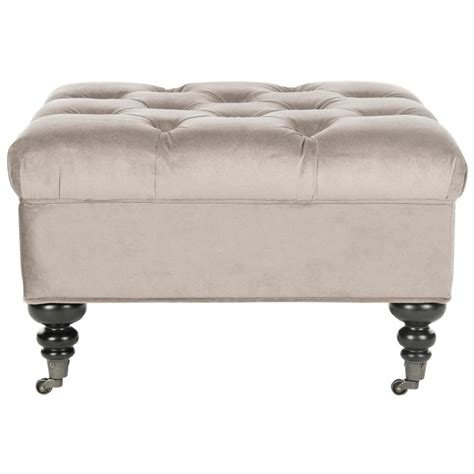 Tufted Ottomans by Safavieh Charlene Taupe Tufted Ottoman Mcr4638a The Home
