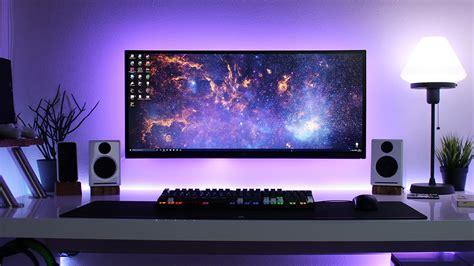 corner computer desk clean minimal desk setup cable management goals setup