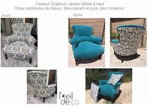 Fauteuil Crapaud Bleu Canard : l 39 oeil de co nouvelle vie pour ce fauteuil crapaud l ~ Teatrodelosmanantiales.com Idées de Décoration