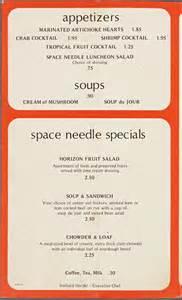 Space Needle Restaurant Menu