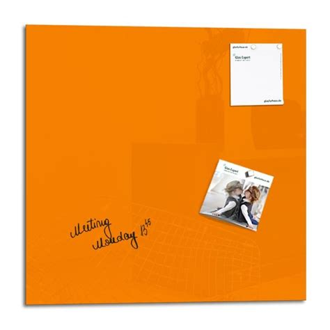 tableau de bureau smart glass board 48 x 48 cm orange tableau magnétique