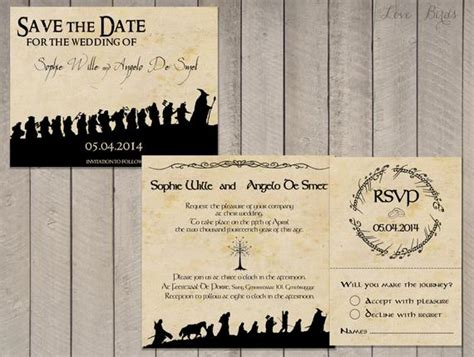 wedding invitation set lord   rings save  date