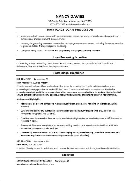 Resume Template For Mortgage Loan Processor by Mortgage Loan Processor Resume Sle