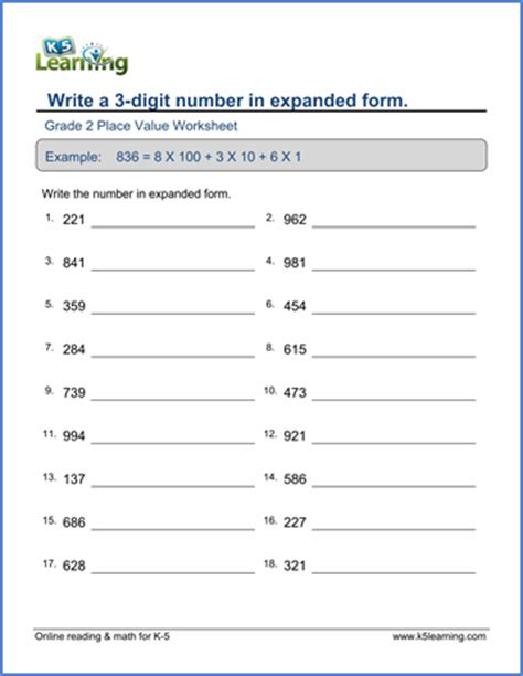 grade 2 place value worksheets write numbers in expanded