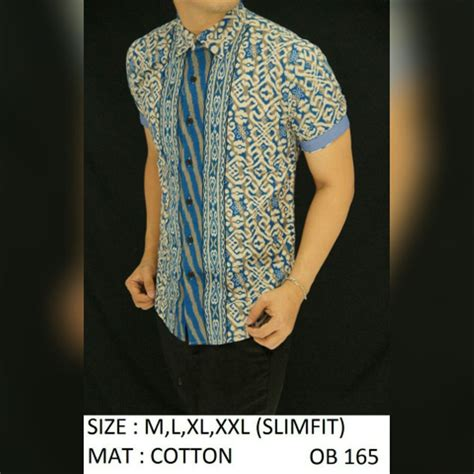 jual baju kemeja batik slimfit ob165 fashion batik slimfit pria jas dasi kaos oblong tshirt