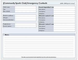 Download ms office youth sports emergency contact list for Microsoft excel address book template