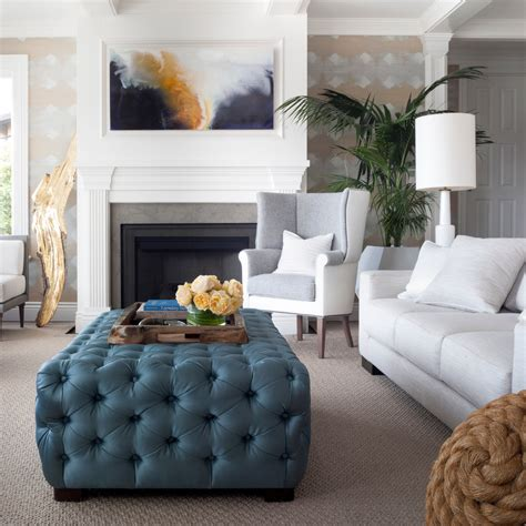 Elegant ottoman tray in Living Room Transitional with