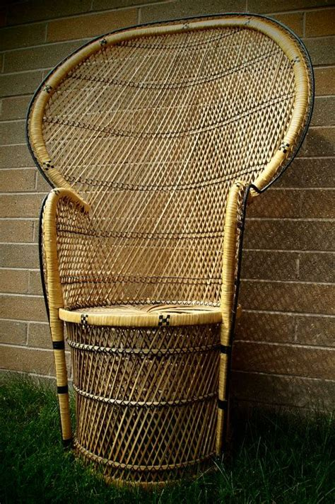 high back wicker rattan chair peacock fan back by