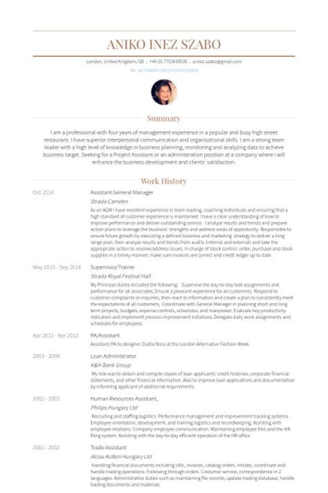 Assistant General Manager Description Resume by Directeur G 233 N 233 Ral Adjoint Exemple De Cv Base De Donn 233 Es Des Cv De Visualcv