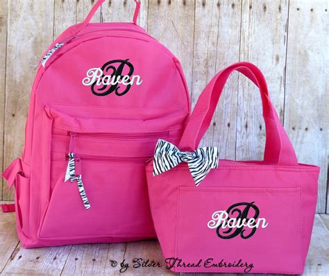 personalized backpack lunch bag zebra leopard bow monogrammed