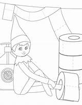 Elf Coloring Shelf Pages Printable Decorate Toilet Paper Version sketch template