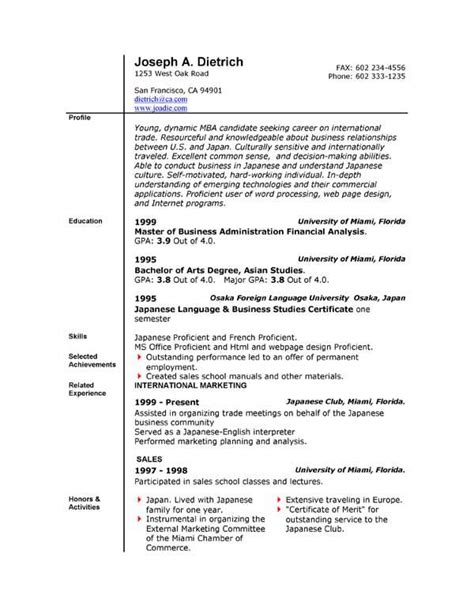 Basic Resume Template Word by 44 Basic Resume Template Free
