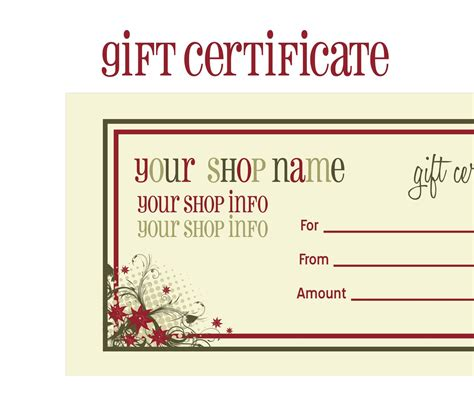 free printable photography gift certificate template printable gift certificates new calendar template site