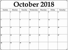 Calendar October 2018 Print – Printable 2018 Calendar