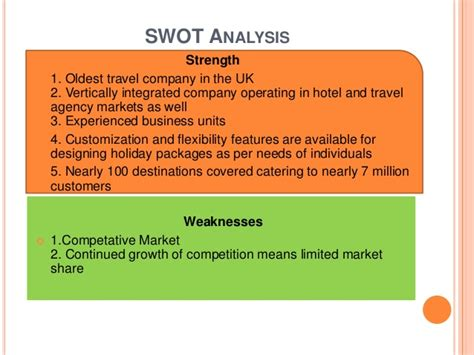 Thomas Cook Company Ltd. with (SWOT Analysis)