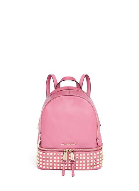 michael kors rhea small stud leather backpack  pink lyst