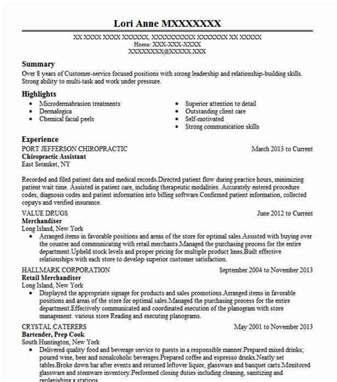 Exle Of Resumes For by Chiropractic Assistant Resume Sle Assistant Resumes