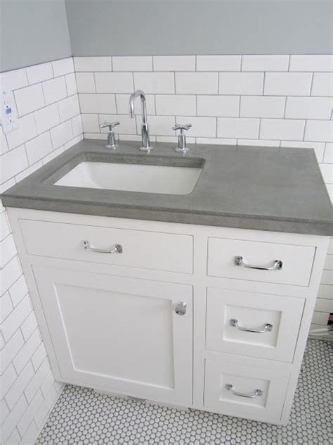 White Vanity With Gray Top by White Vanity Grey Top Offset Sink Concrete Countertop