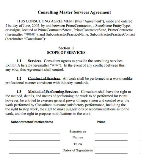 master services agreement template business template