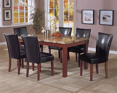7pc marble top dining table 6 black parson chairs set