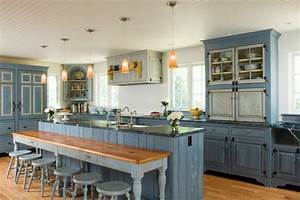 30 blue kitchen designs to wow and inspire With best brand of paint for kitchen cabinets with tall clear glass candle holders