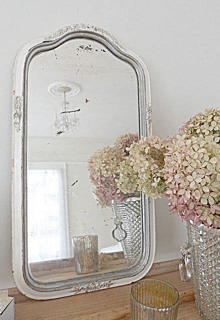 simply shabby chic mirror silver and hydrangeas mirrors pinterest beautiful shabby chic and nature