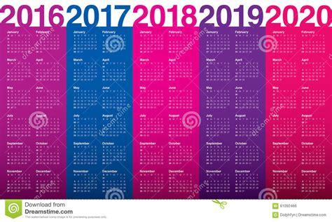 Calendar 2016 2017 2018 2019 2020 Stock Vector