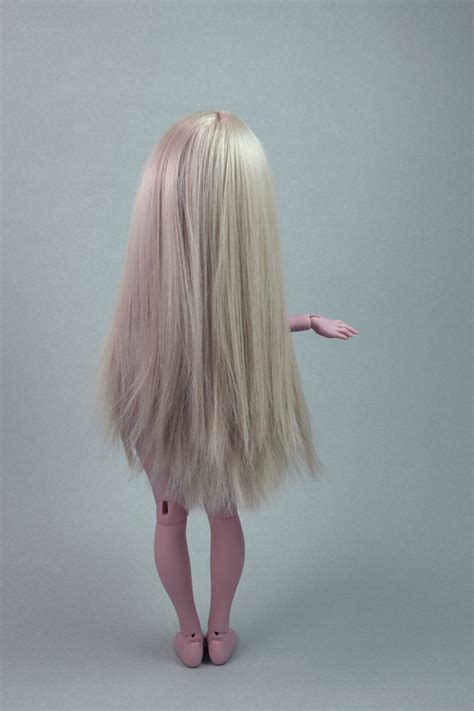 Newt Ooak Long Wig Straight Light Pink And Blond Hair