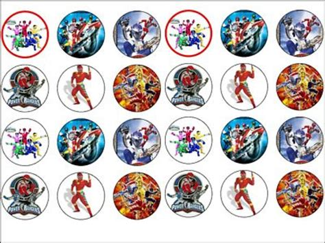 power rangers rice wafer paper cup cake bun toppers