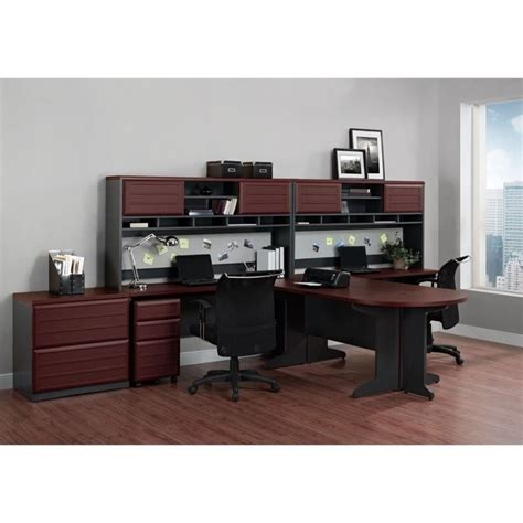 gray desk with hutch altra furniture pursuit l shaped desk with hutch in cherry