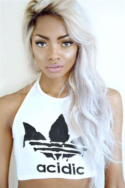 Pretty Brown Girl With White Hair Love This Hair Nd