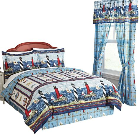collections etc nautical bar harbor lighthouse comforter
