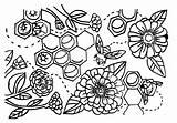 Coloring Bumblebees Zinnias sketch template