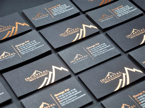 Incapital Copper Foil Black Business Card By Lemongraphic Business Casual Attire Plan Sample Roadmap Png Rental Property About Bakery Powerpoint Samples For Nonprofit Organisations And Examples