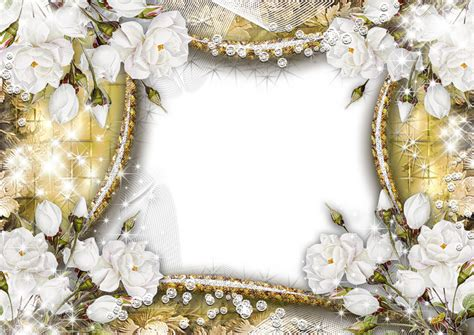 gold png transparent frame  white roses gallery