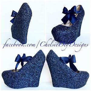 Navy Blue Wedge Glitter Heels - Dark Blue Platform Shoes ...