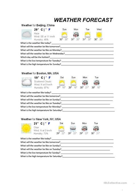 free esl forecast worksheets high school weather map