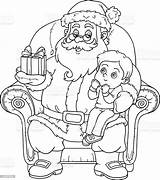 Santa Claus Coloring Christmas Gift Boy Gives Vector Child Bo Illustration Adult Armchair Awe Activity sketch template
