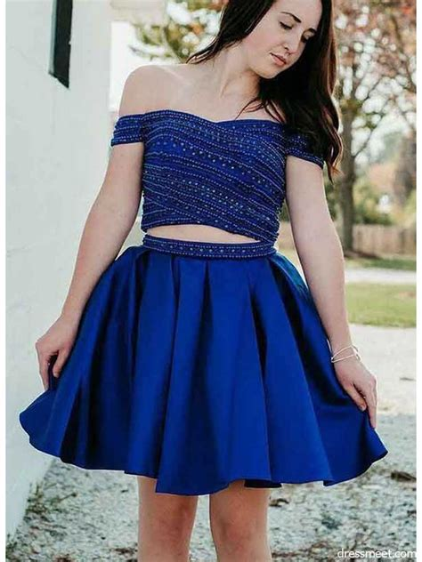 Cute A Line Two Piece Sweetheart Royal Blue Short ...