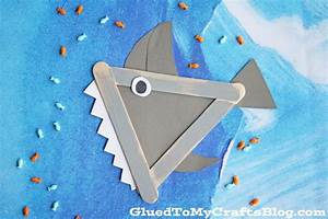 Popsicle Stick Shark - Kid Craft - Glued To My Crafts
